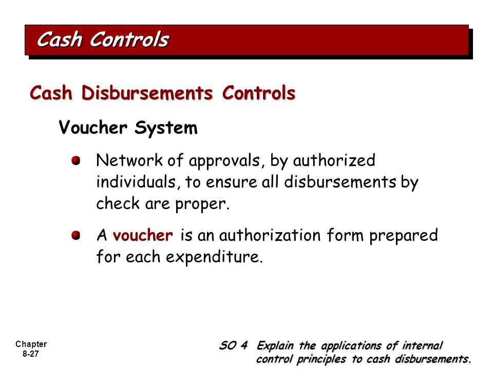 Cash Controls Cash Disbursements Controls Voucher System