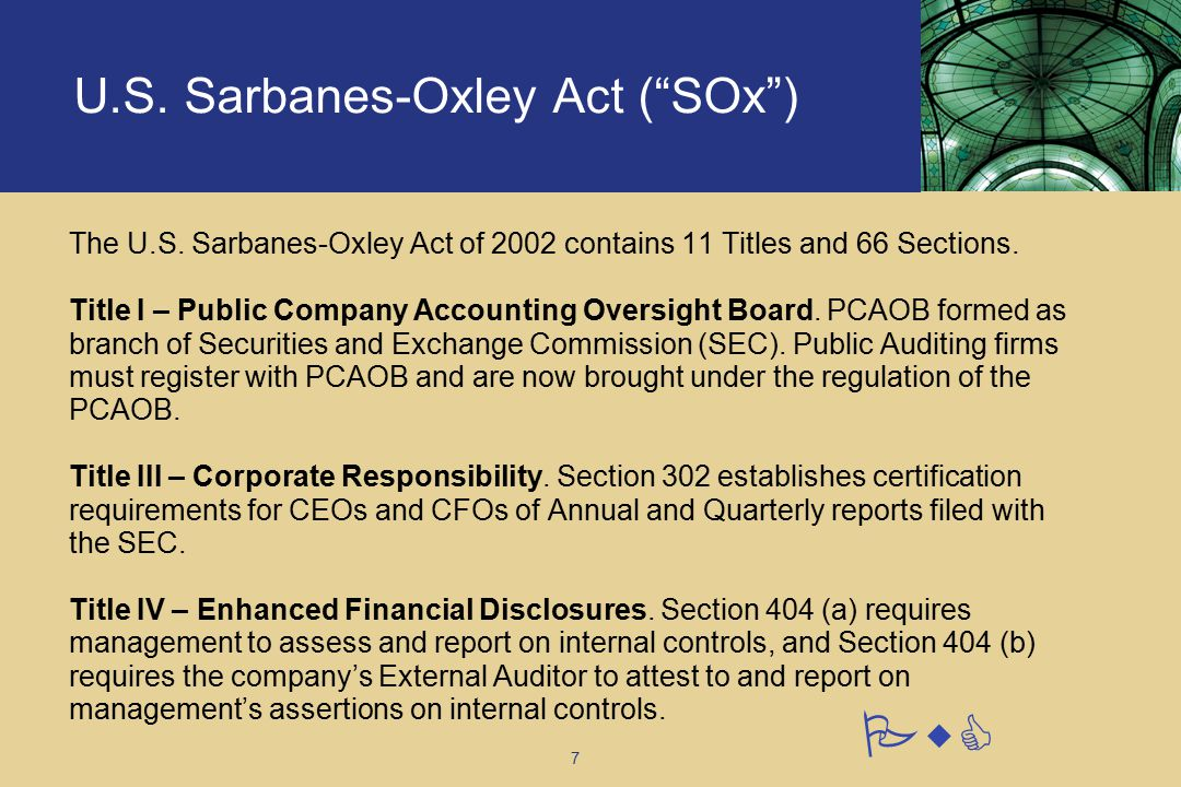 an outline of the sarbanes oxley act Sans institute infosec reading room  the impact of the sarbanes -oxley act on it security abstract  involves creating diagrams and/or narratives that outline the process steps, as well as the individuals, applications, and databases that are involved once the process has.