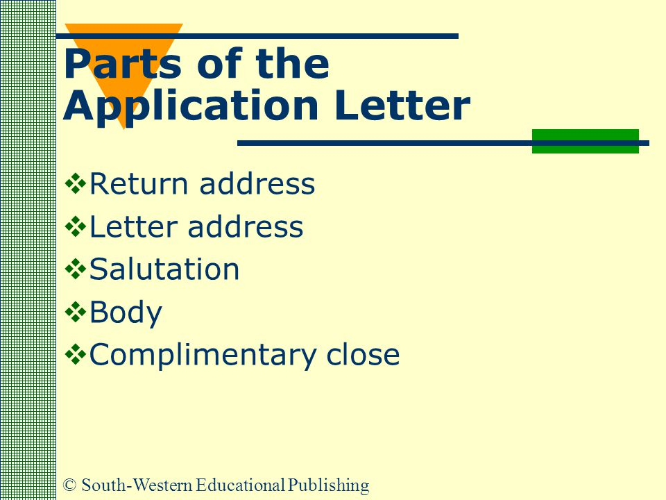 Parts of the Application Letter