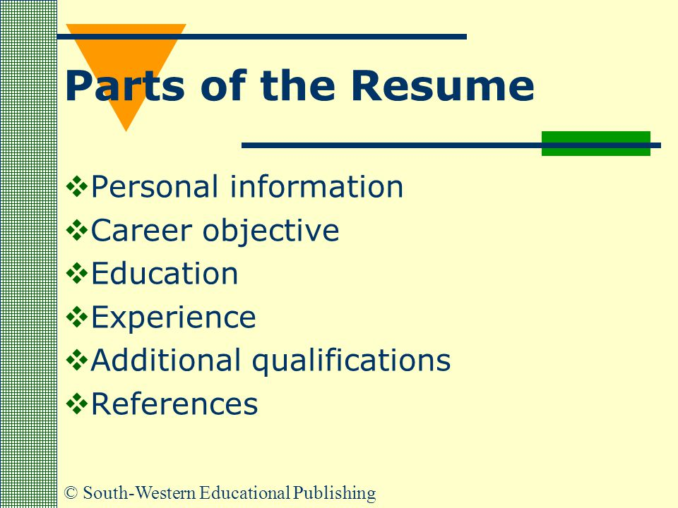Parts of the Resume Personal information Career objective Education