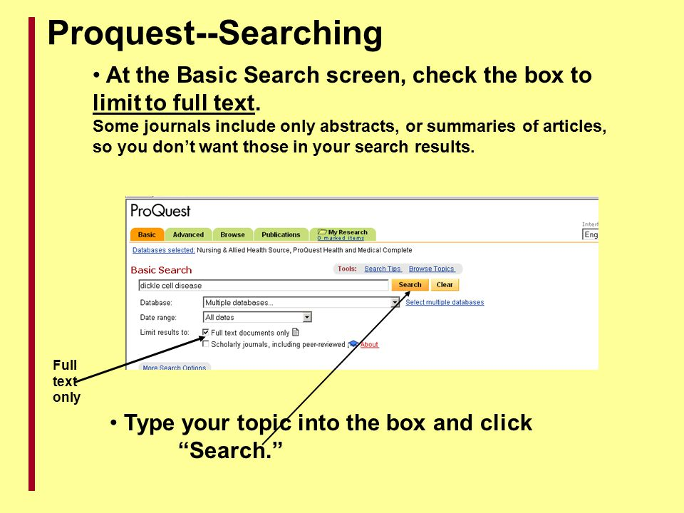 Proquest--Searching