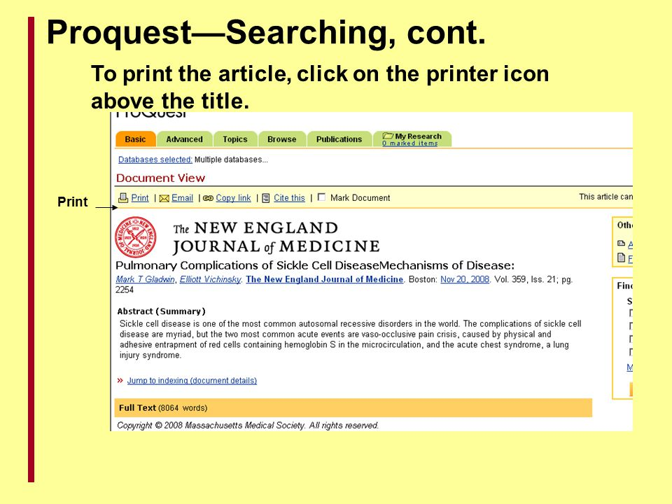 Proquest—Searching, cont.