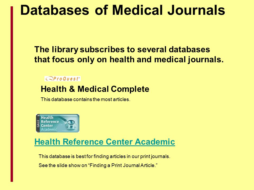 Databases of Medical Journals