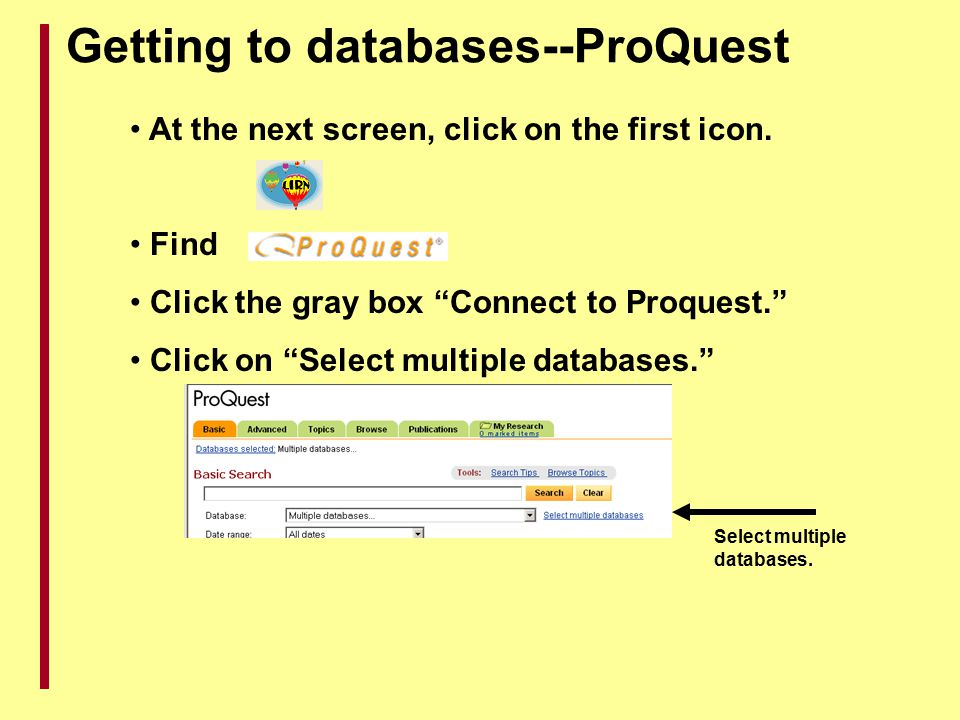 Getting to databases--ProQuest