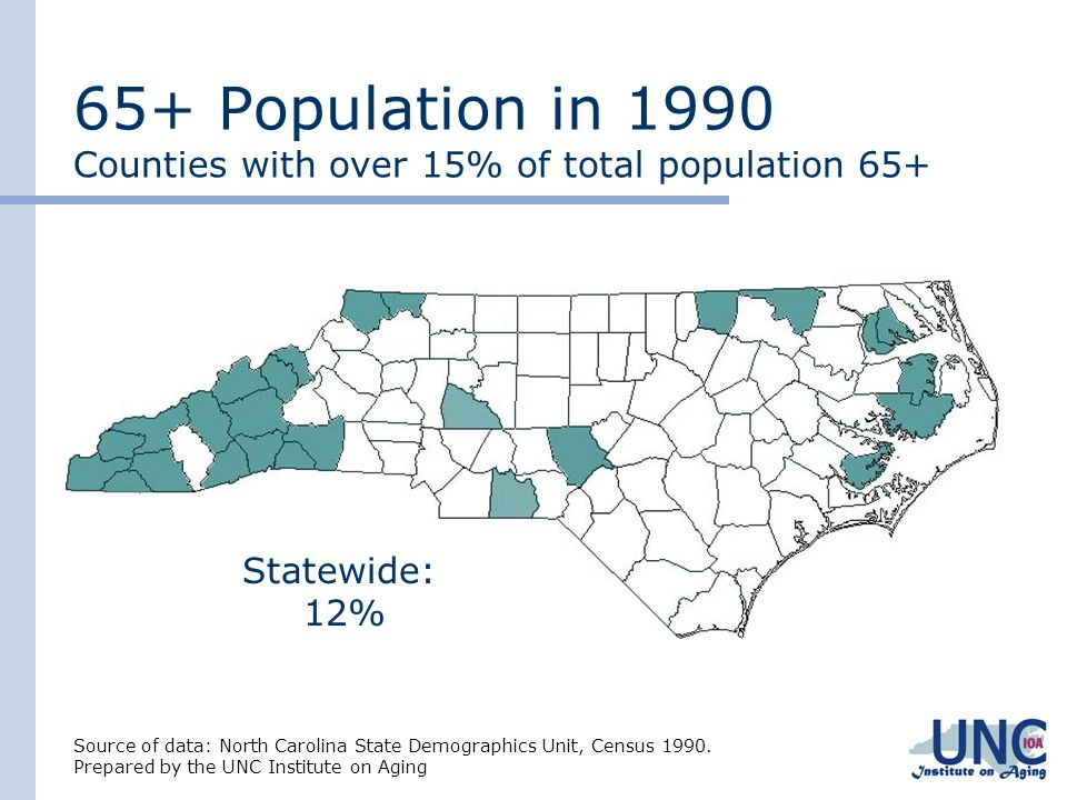 65+ Population in 1990 Counties with over 15% of total population 65+