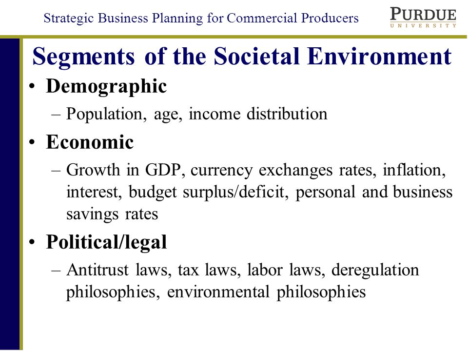 Segments of the Societal Environment