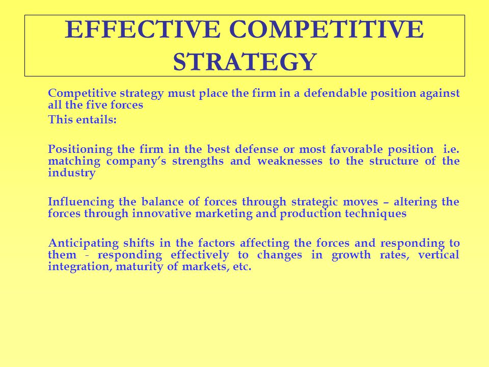 EFFECTIVE COMPETITIVE STRATEGY