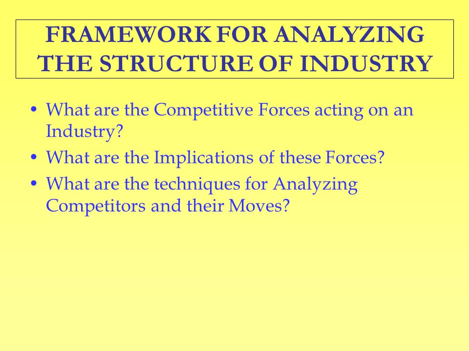 FRAMEWORK FOR ANALYZING THE STRUCTURE OF INDUSTRY