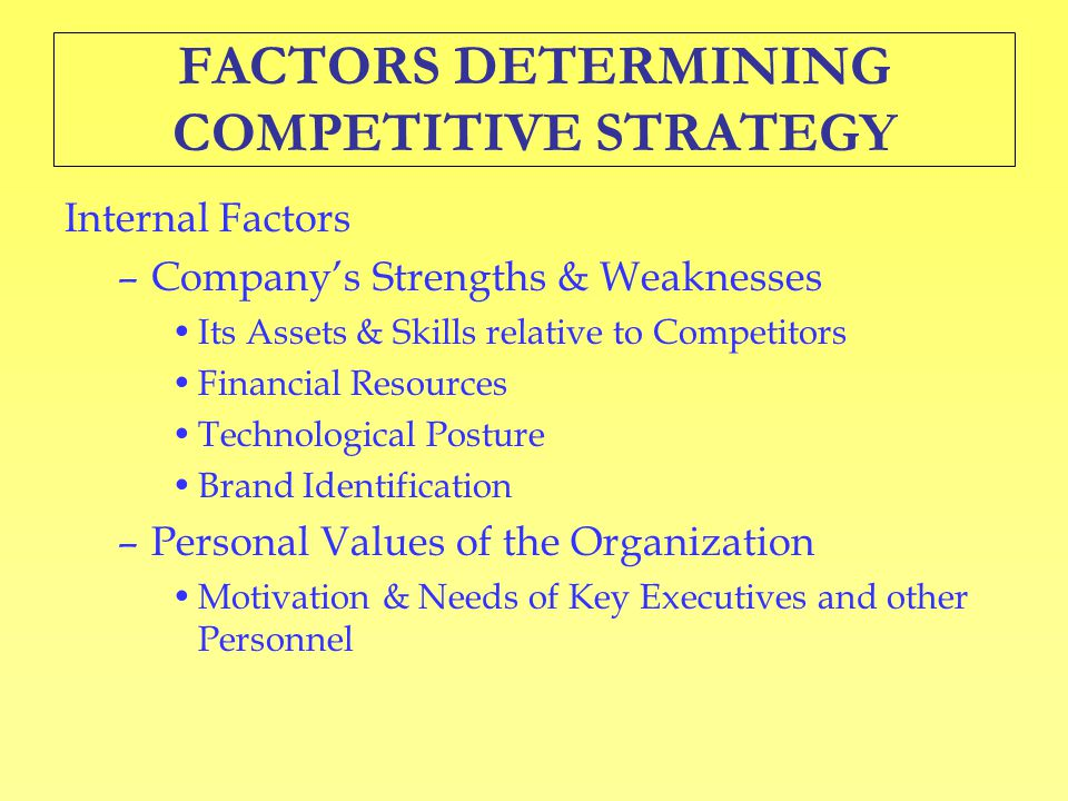 FACTORS DETERMINING COMPETITIVE STRATEGY