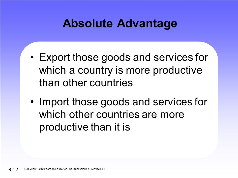 Absolute Advantage Export those goods and services for which a country is more productive than other countries.