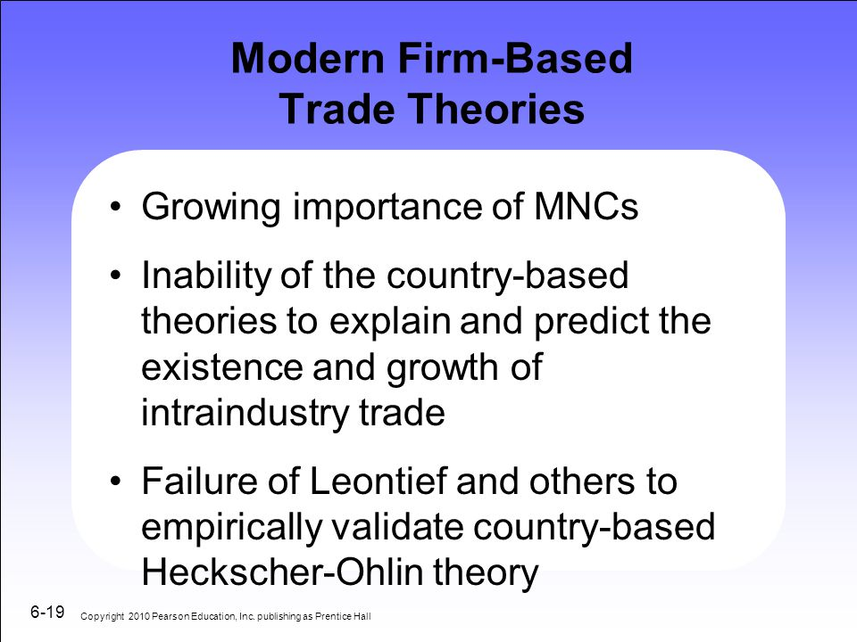 Modern Firm-Based Trade Theories