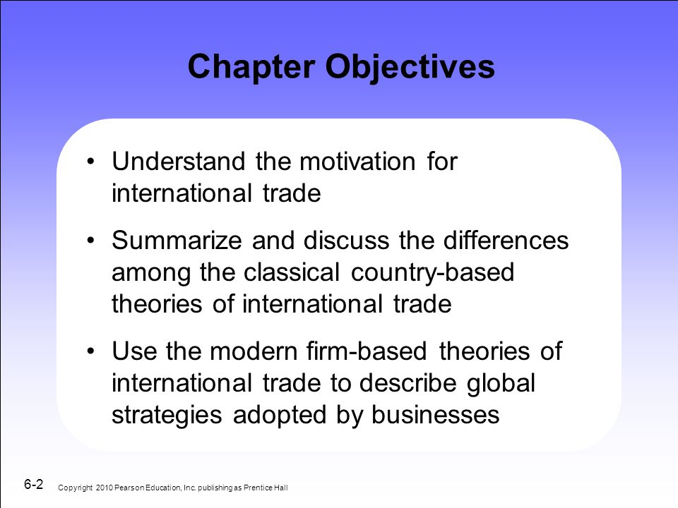 Chapter Objectives Understand the motivation for international trade