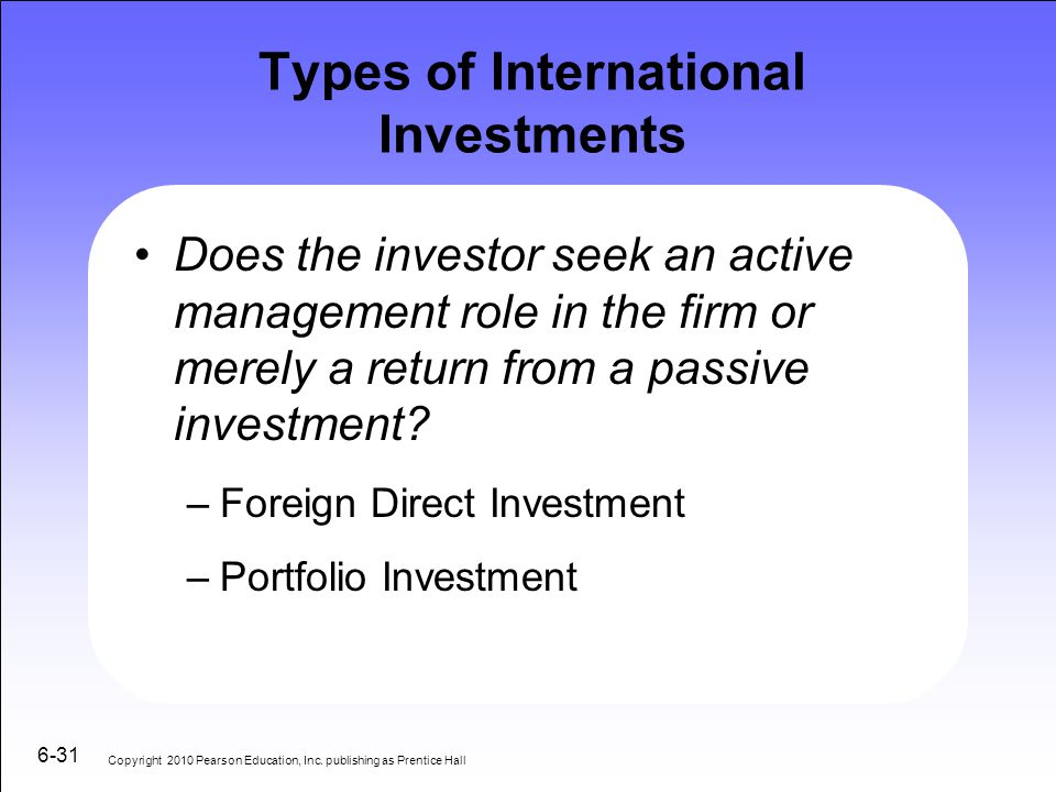 Types of International Investments