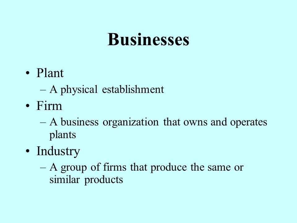 Businesses Plant Firm Industry A physical establishment