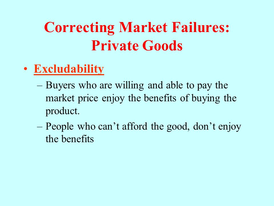Correcting Market Failures: Private Goods