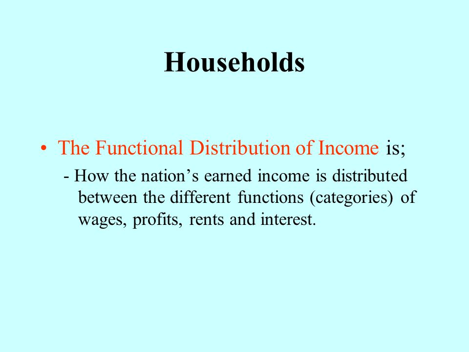 Households The Functional Distribution of Income is;