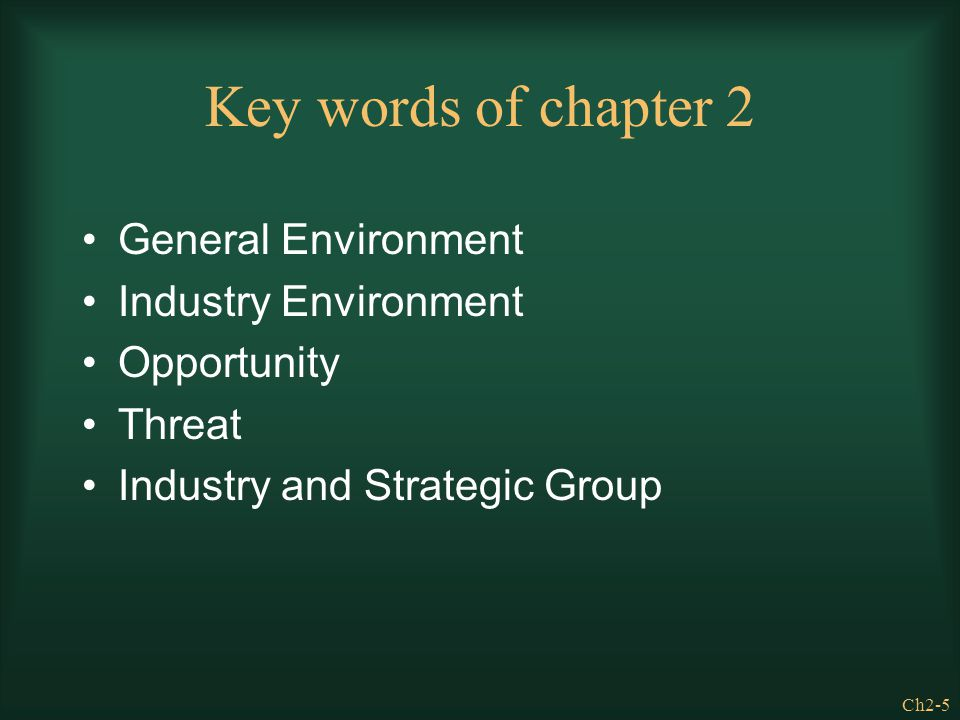 Key words of chapter 2 General Environment Industry Environment