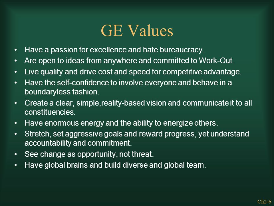 GE Values Have a passion for excellence and hate bureaucracy.