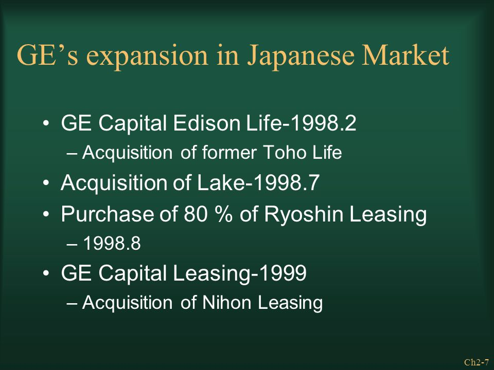 GE's expansion in Japanese Market