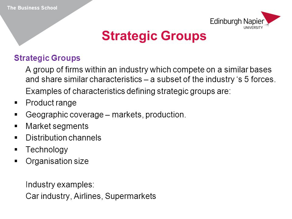 Strategic Groups Strategic Groups
