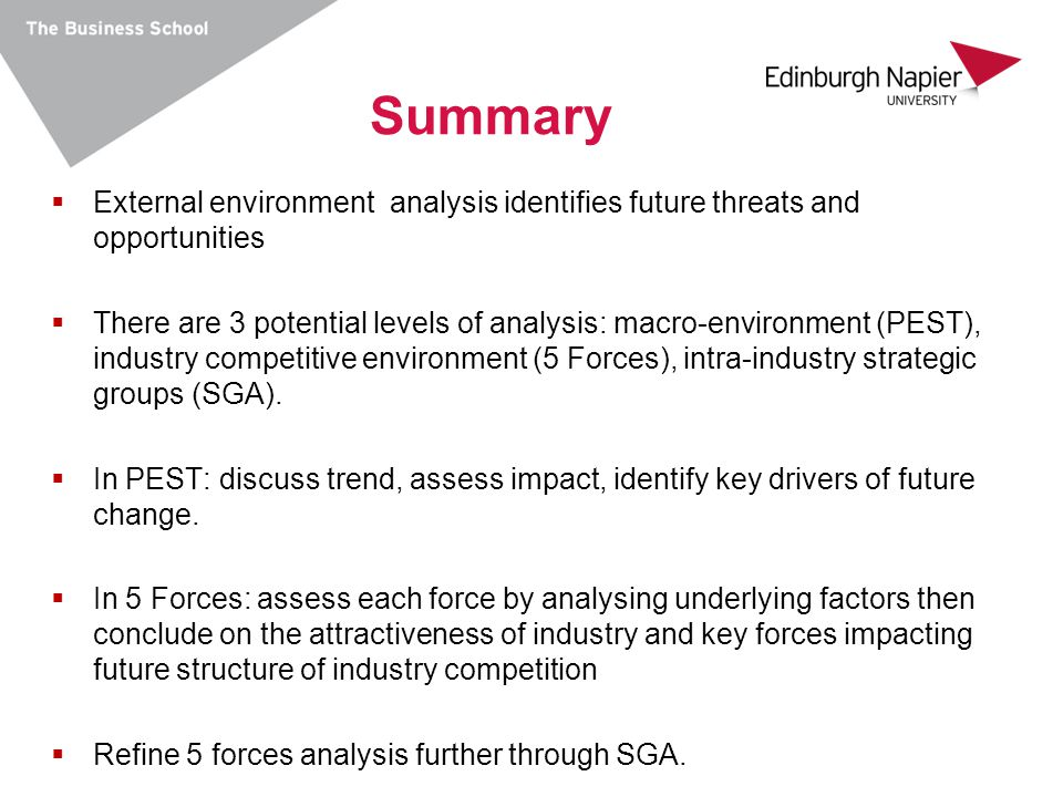 Summary External environment analysis identifies future threats and opportunities.