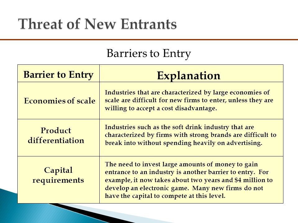 barriers to entry in pc industry Barriers to entry are unique industry characteristics that define the industry barriers reduce the rate of entry of new firms, thus maintaining a level of profits for those already in the industry from a strategic perspective, barriers can be created or exploited to enhance a firm's competitive advantage.