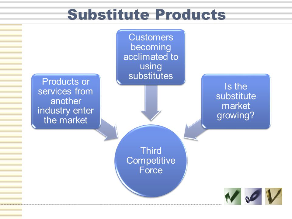 Substitute Products Customers becoming acclimated to using substitutes