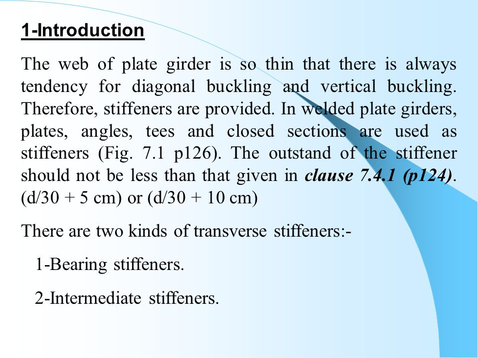 Chapter -9 WEB STIFFENERS  - ppt video online download