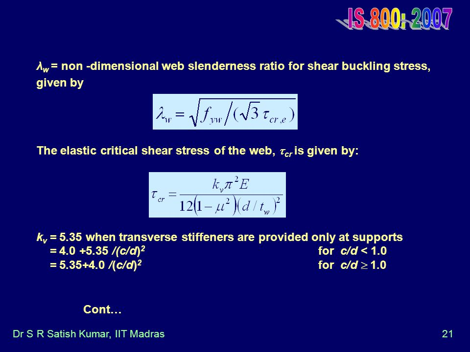 IS 800: 2007 λw = non -dimensional web slenderness ratio for shear buckling stress, given by.