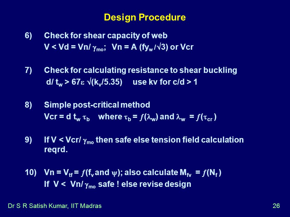 Design Procedure Check for shear capacity of web