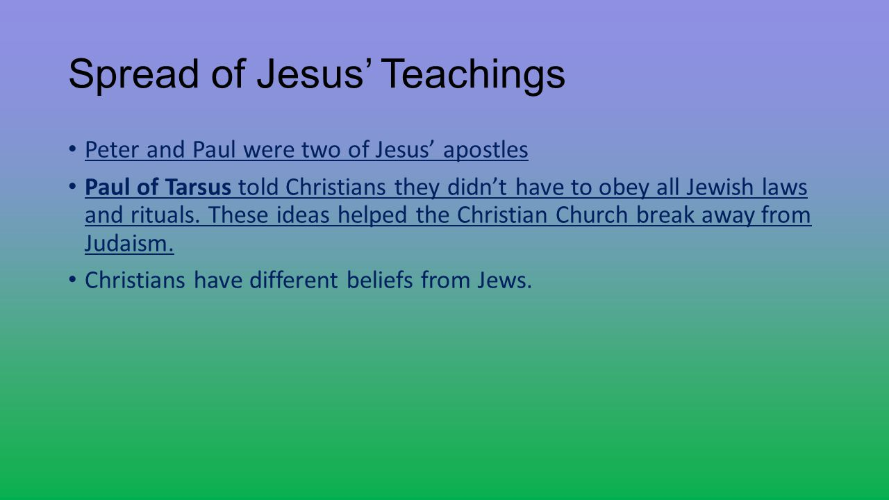 Spread of Jesus' Teachings