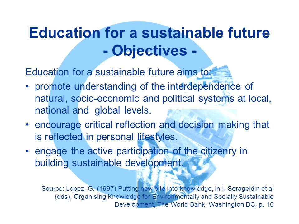 Education for a sustainable future - Objectives -