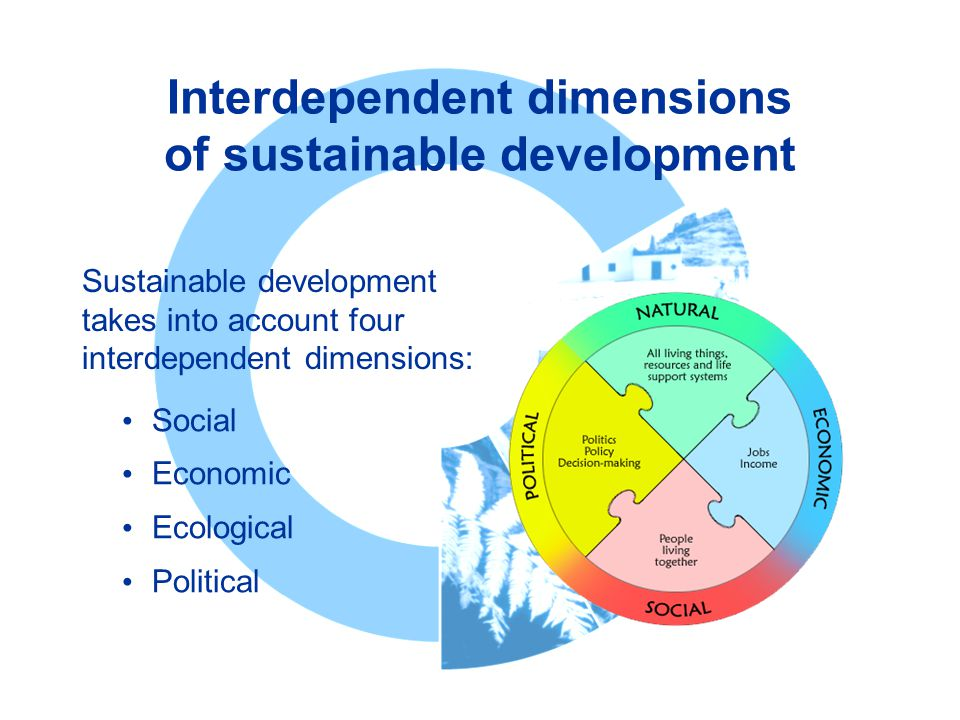 Interdependent dimensions of sustainable development