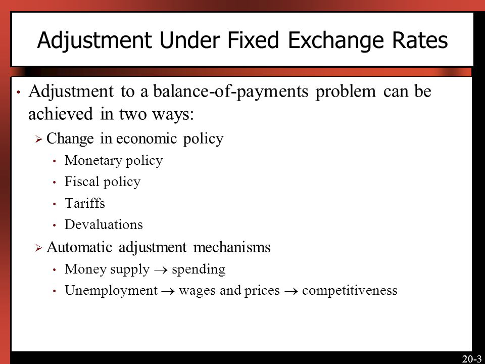 Adjustment Under Fixed Exchange Rates