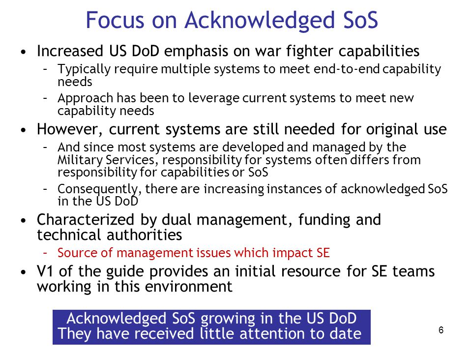 Focus on Acknowledged SoS