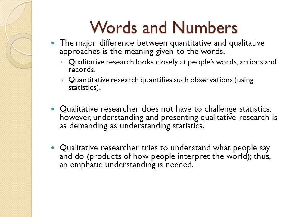 major differences between qualitative and quantitative research