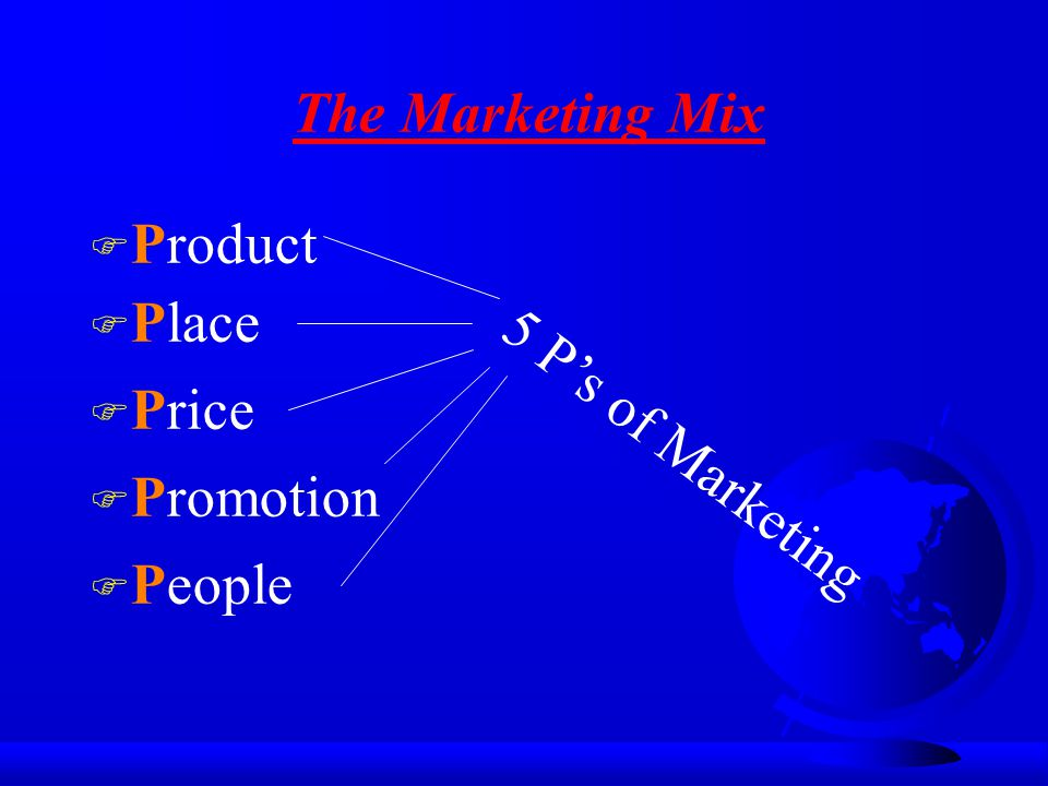 The Marketing Mix Product Place Price 5 P's of Marketing Promotion People