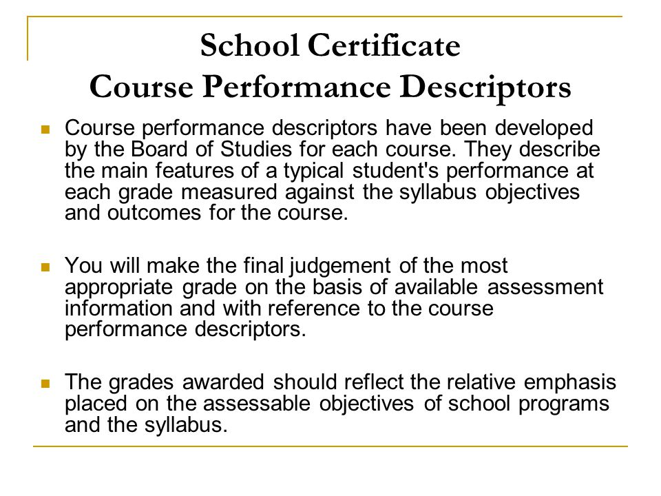 School Certificate Course Performance Descriptors