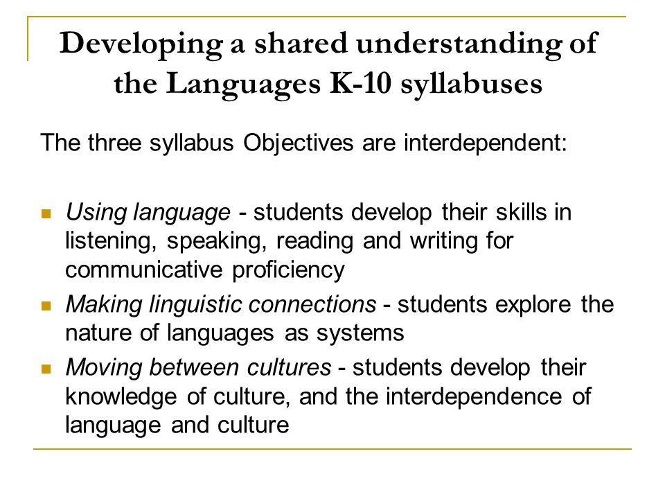 Developing a shared understanding of the Languages K-10 syllabuses