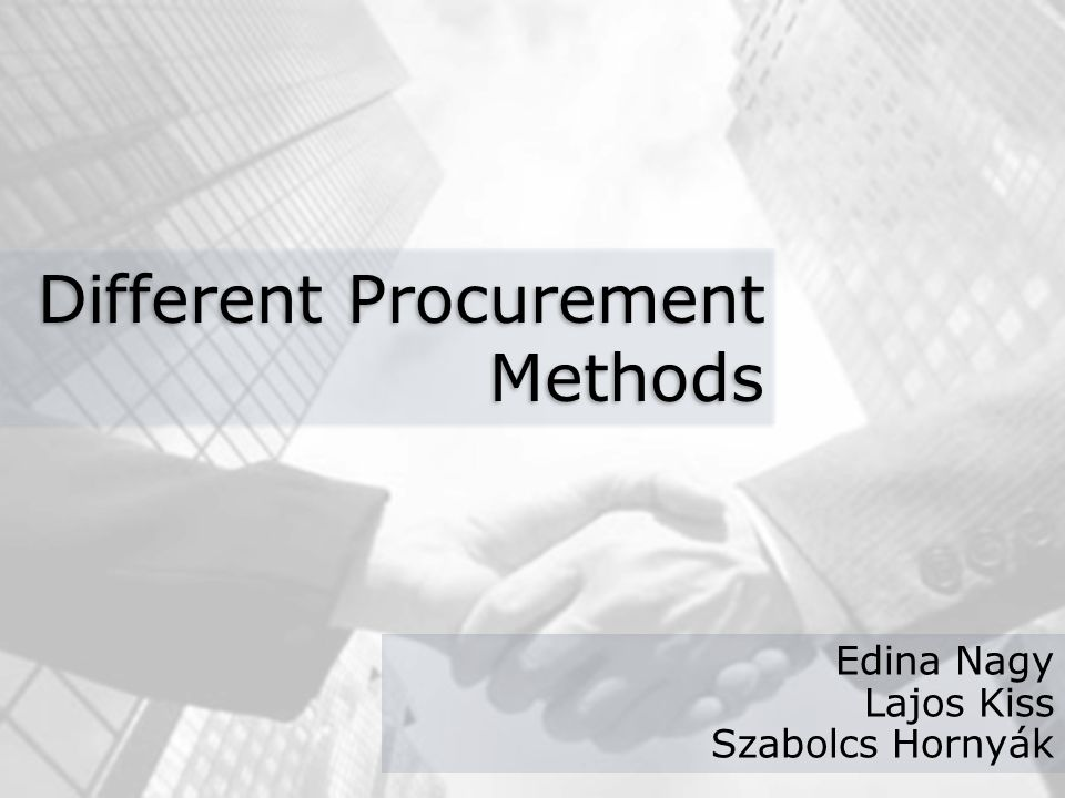 procurement methods Noncompetitive negotiation this method of procurement is appropriate when: (1) a public agency such as a natural disaster prevents or delays publicizing procurement (2) only one source of the.