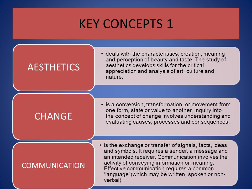 KEY CONCEPTS 1 AESTHETICS CHANGE COMMUNICATION