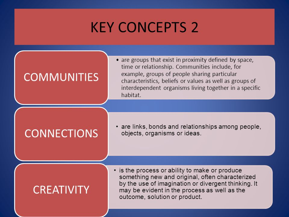 KEY CONCEPTS 2 COMMUNITIES.