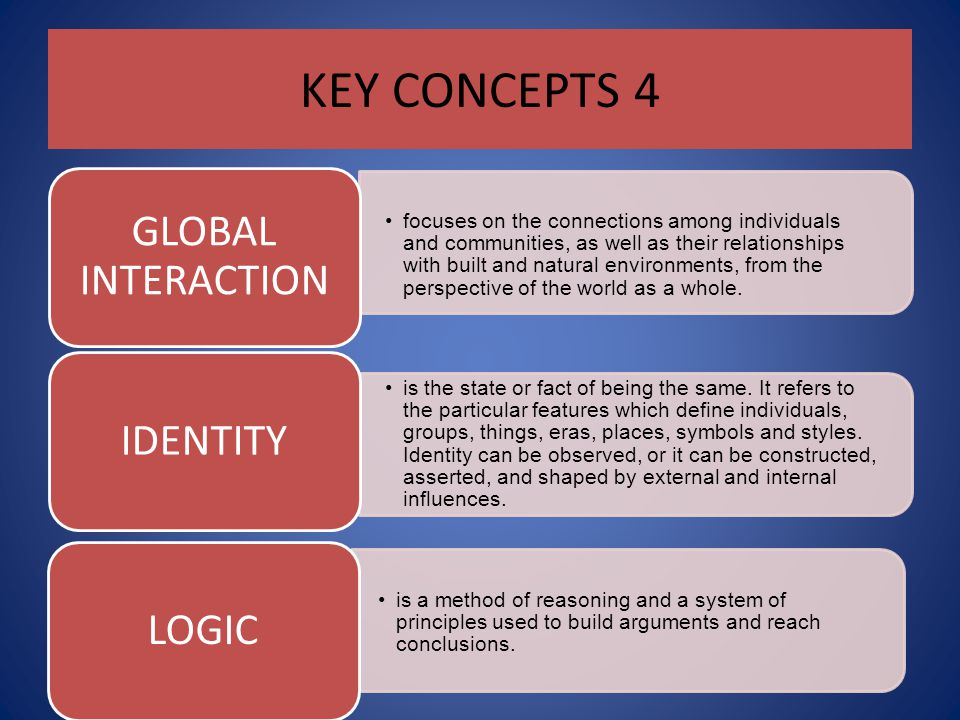 KEY CONCEPTS 4 GLOBAL INTERACTION.