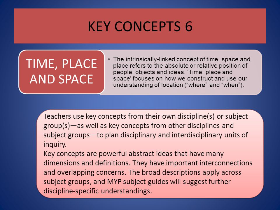 KEY CONCEPTS 6 TIME, PLACE AND SPACE.