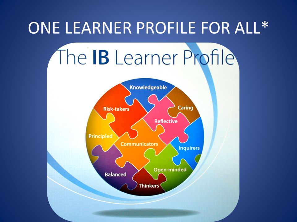 ONE LEARNER PROFILE FOR ALL*