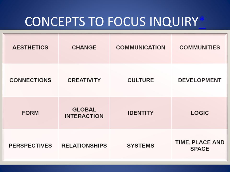 CONCEPTS TO FOCUS INQUIRY*