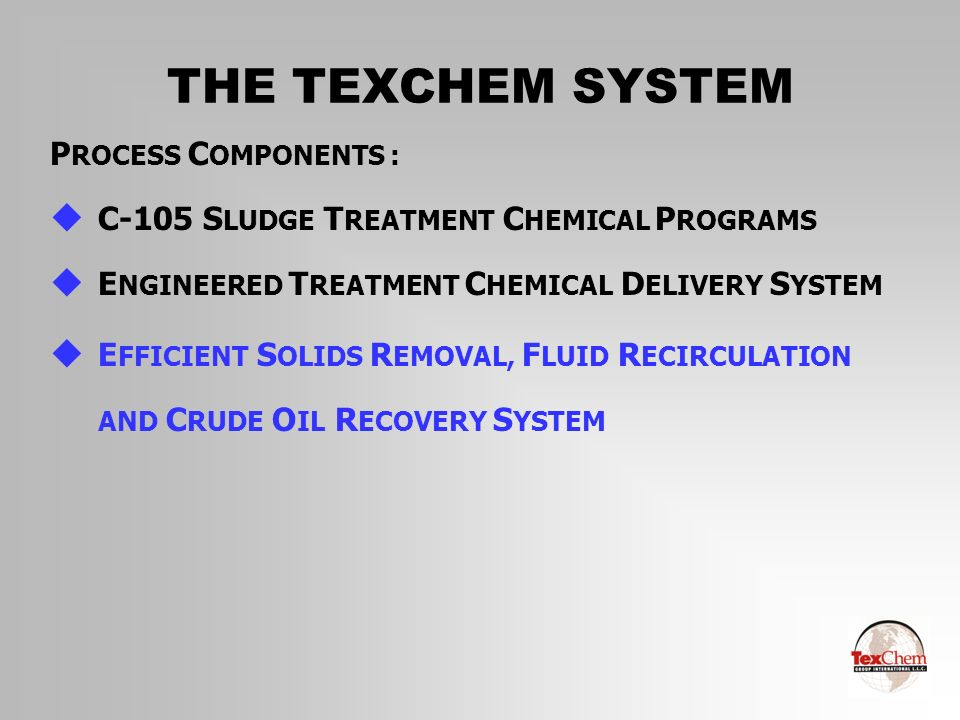 THE TEXCHEM SYSTEM PROCESS COMPONENTS :