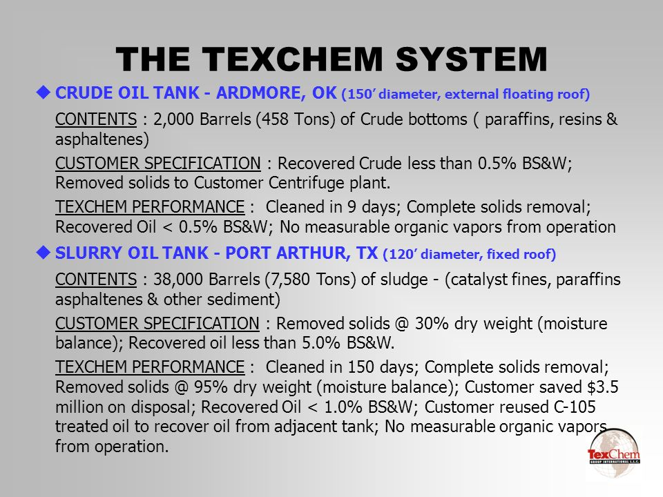 THE TEXCHEM SYSTEM CRUDE OIL TANK - ARDMORE, OK (150' diameter, external floating roof)