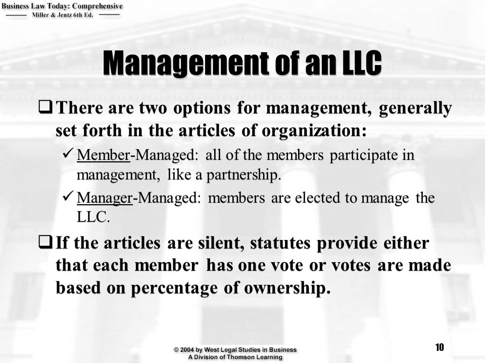 Management of an LLC There are two options for management, generally set forth in the articles of organization: