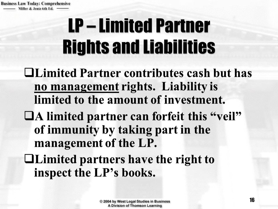 LP – Limited Partner Rights and Liabilities